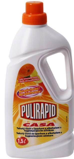Fotografie Pulirapid Casa Agrumi s vůní citrusového ovoce univerzální tekutý čistič se čpavkem a alkoholem na všechny domácí omyvatelné povrchy 1,5 l