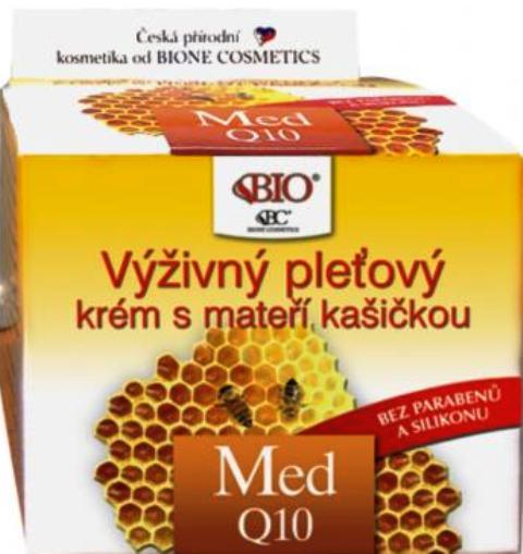 Fotografie Bione Cosmetics Med a Q10 výživný pleťový krém s mateří kašičkou 51 ml