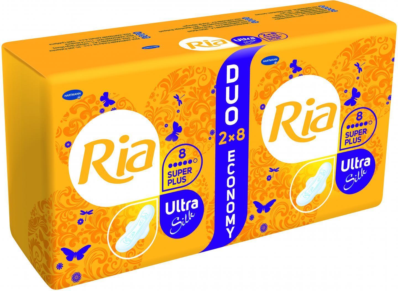 Fotografie Ria Ultra Silk Super Plus hygienické vložky 2 x 8 ks