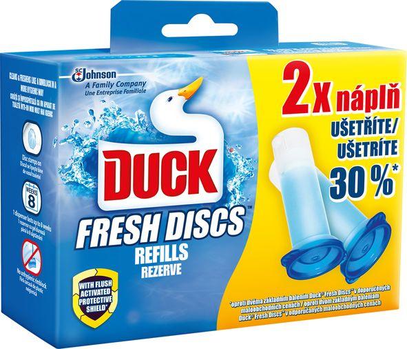 Fotografie Duck Fresh Discs Mořská vůně WC gel pro hygienickou čistotu a svěžest Vaší toalety náhradní níplň 2x36 ml