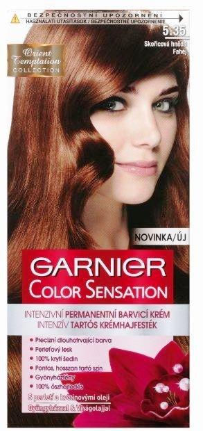 Fotografie Garnier Color Sensation barva na vlasy 5.35 Skořicová hnědá