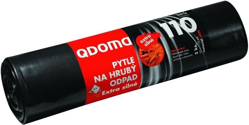 Fotografie QDoma Pytle na hrubý odpad černé extra silné 110 litrů, 60 x 110 cm, 5 kusů