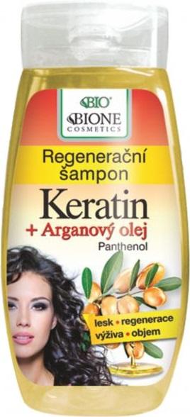 Bione Cosmetics Keratin & Arganový olej regenerační šampon 260 ml