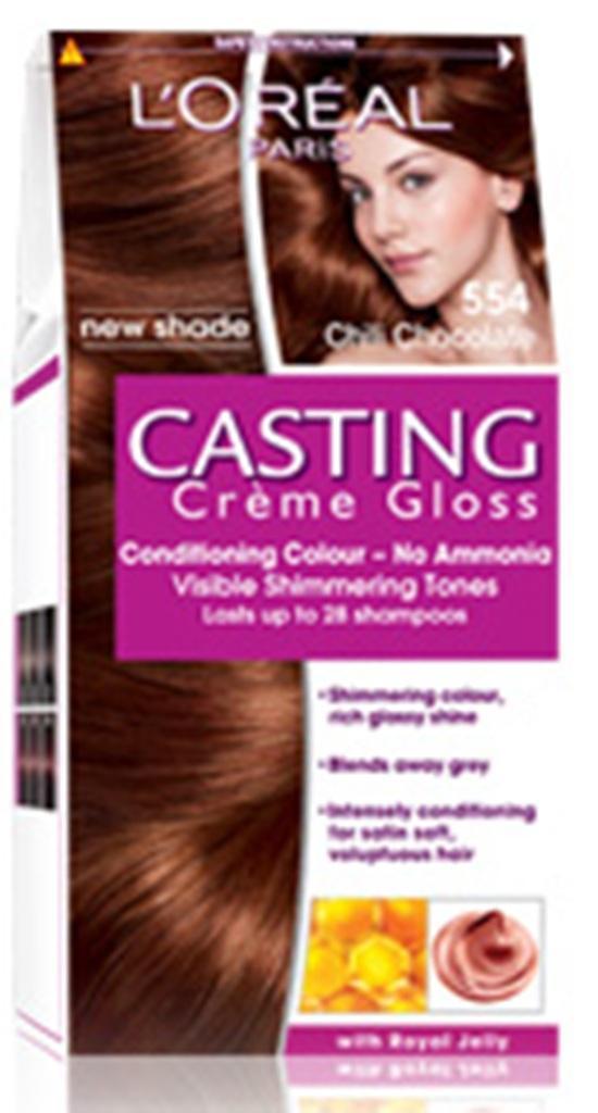 Fotografie Loreal Paris Casting Creme Gloss barva na vlasy 554 chilli čokoláda