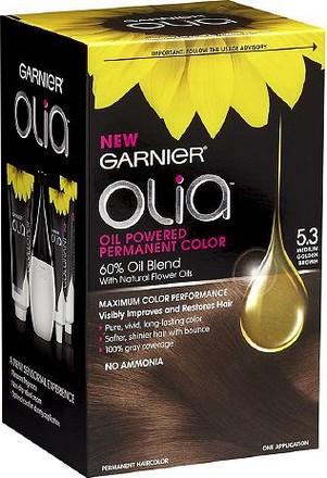 Fotografie Garnier Permanentní olejová barva na vlasy bez amoniaku Olia 5.3 zlatá hnědá