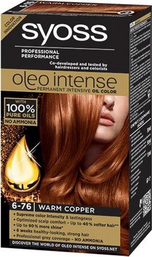 Syoss Oleo Intense Color barva na vlasy bez amoniaku 6-76 Teplý měděný