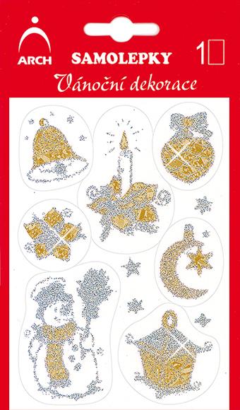 Arch Holografické dekorační samolepky vánoční s glitry 705-SG zlato-stříbrné 8,5x12,5 cm