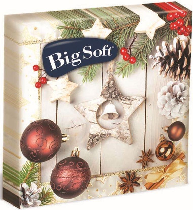 Fotografie Big Soft Vánoční papírové ubrousky Hnědé ozdoby + bílá hvězda 33 x 33 cm 2 vrstvé 20 kusů
