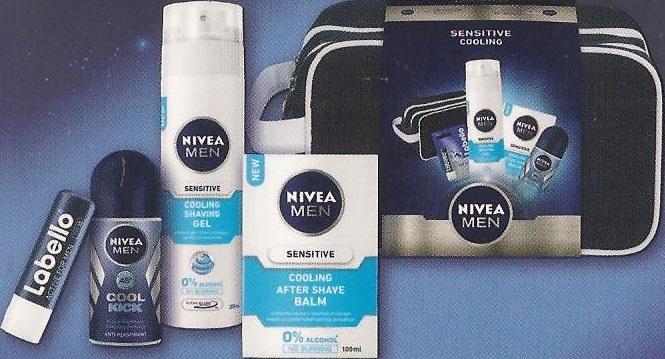Nivea Men Cool balzám po holení 100 ml + gel na holení 200 ml + antiperspirant roll-on 50 ml + balzám na rty 4,8 g, kosmetická sada