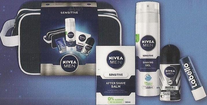 Nivea Men Sensitive balzám po holení 100 ml + gel na holení 200 ml + antiperspirant roll-on 50 ml + balzám na rty 4,8 g, kosmetická sada