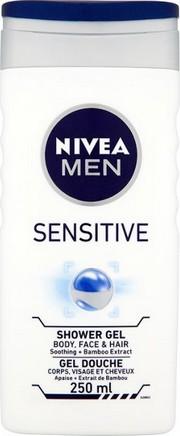 Fotografie Nivea Men Sensitive sprchový gel na tělo, tvář a vlasy 250 ml