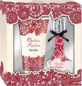 Christina Aguilera Red Sin parfémovaná voda pro ženy 15 ml + sprchový gel 50 ml, dárková sada
