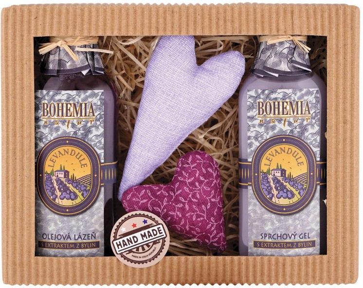 Bohemia Herbs Lavender sprchový gel 100 ml +olejová lázeň 100 ml + 2x patchwork, kosmetická sada