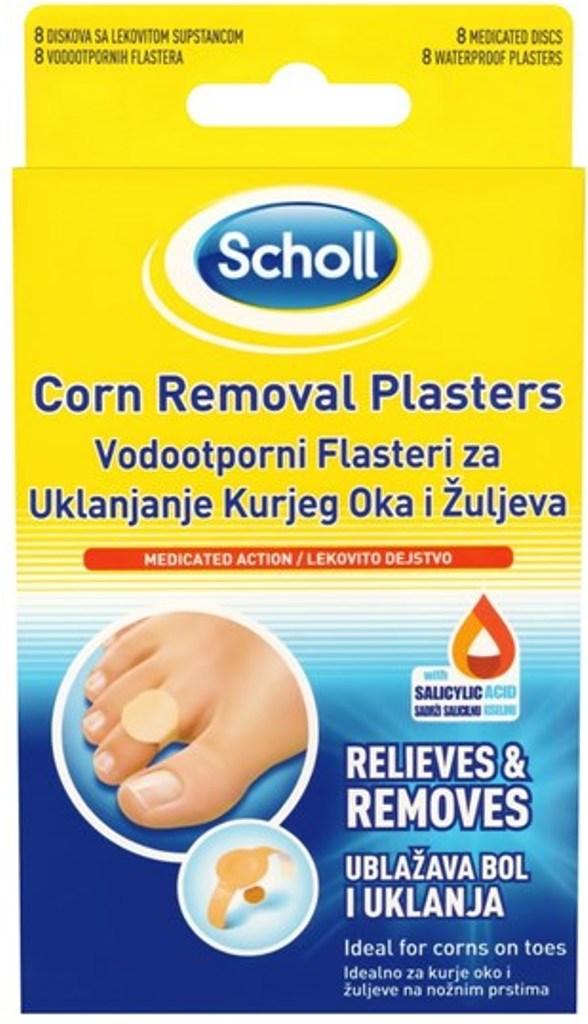 Fotografie Scholl Corn Removal Plasters náplasti na odstranění kuřího oka 8 kusů