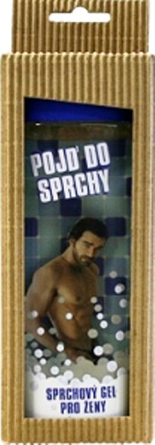 Bohemia Pojď do sprchy jemný sprchový gel s originální 3D etiketou a s hedvábnými proteiny, vodní meloun a hroznové víno pro ženu v krabičce modrý