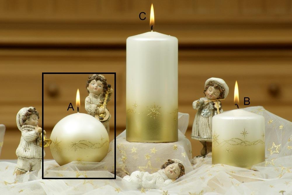 Lima Třpyt hvězdy svíčka zlatá koule průměr 80 mm 1 kus