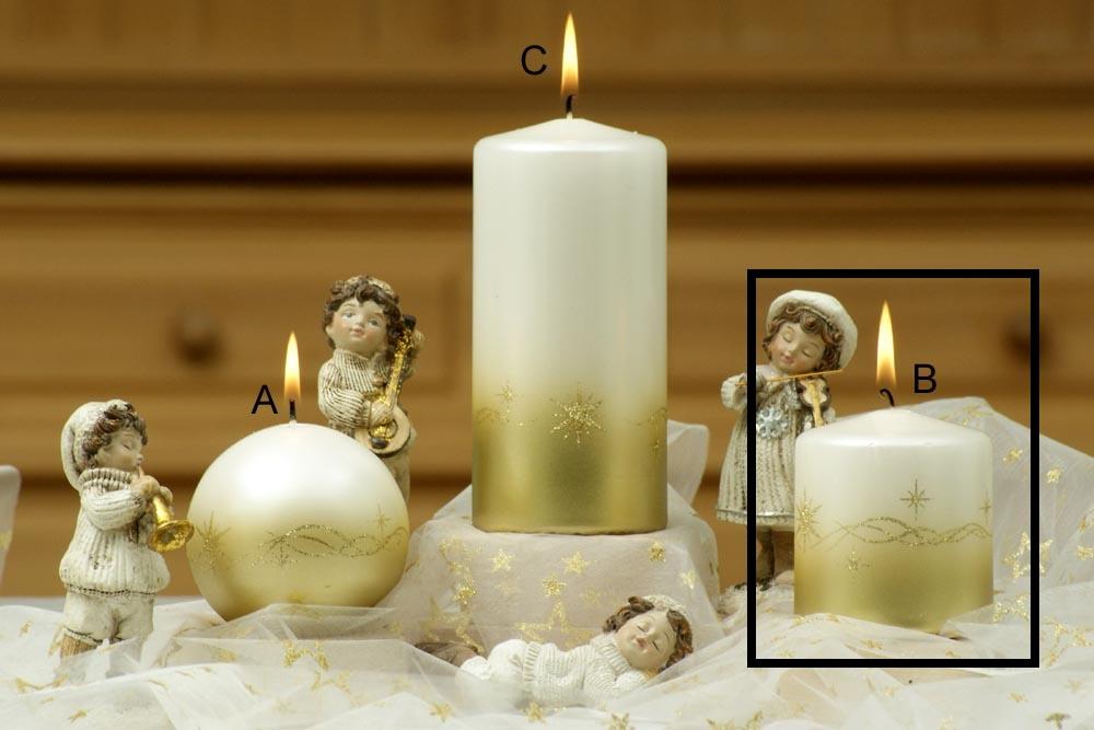 Lima Třpyt hvězdy svíčka zlatá válec 70 x 80 mm 1 kus
