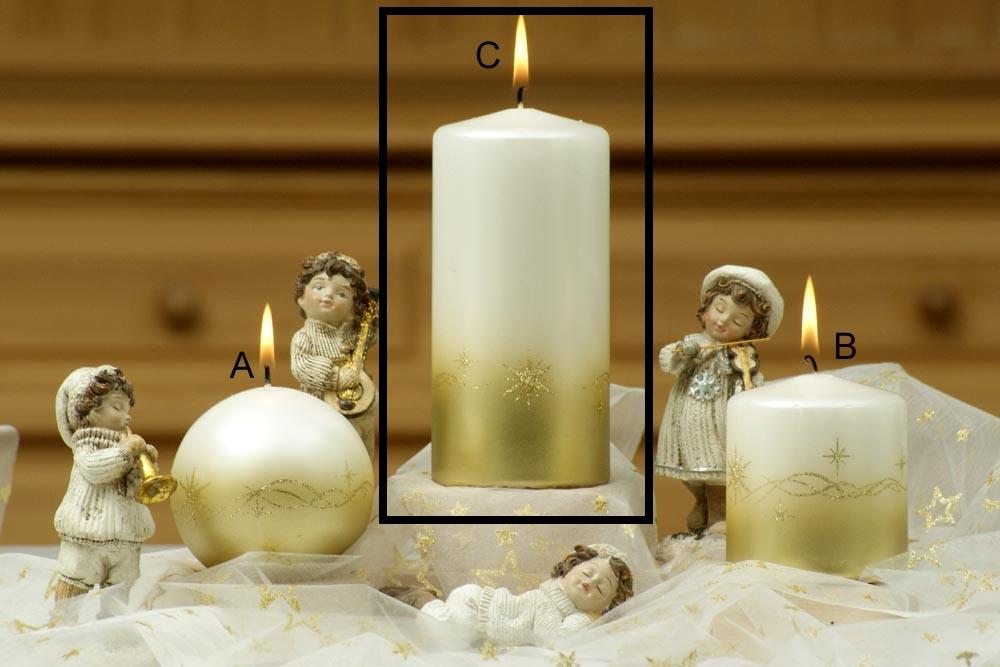 Lima Třpyt hvězdy svíčka zlatá válec 70 x 150 mm 1 kus