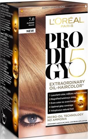Fotografie Loreal Paris Olejová barva na vlasy Prodigy 5 7.0 Almond blond
