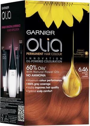 Fotografie Garnier Permanentní olejová barva na vlasy bez amoniaku Olia 6.46 intenzivní červená měděná