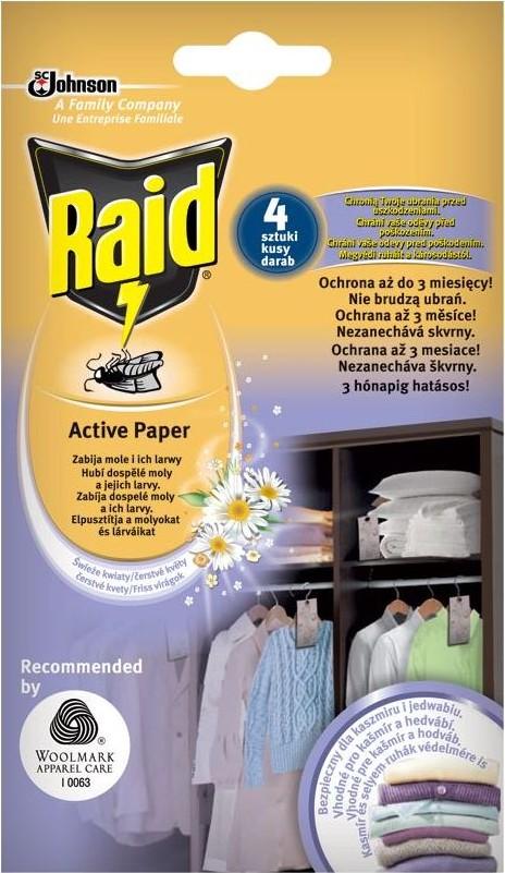 Fotografie Raid Active Paper proti molům aktivní závěs čerstvé květy 4 kusy