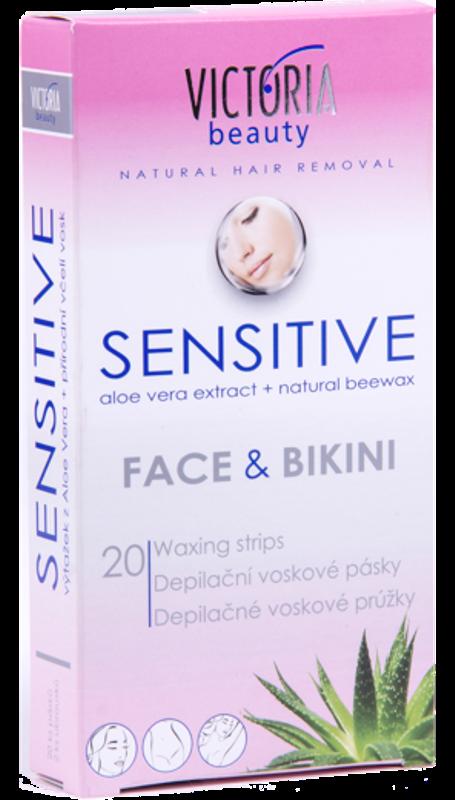 Fotografie Victoria Beauty Sensitive depilační voskové pásky na obličej a bikiny 20 kusů a ubrousky 2 kusy