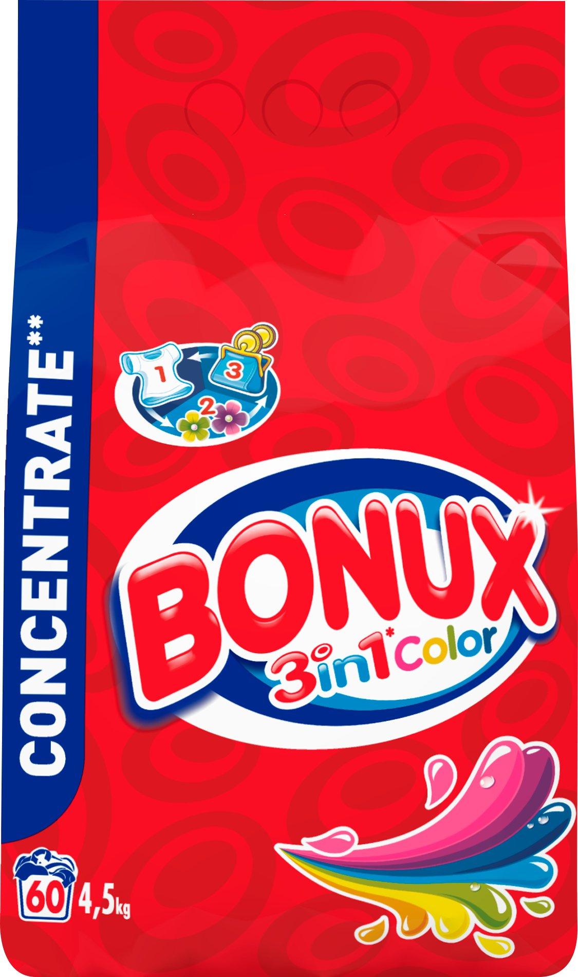 Fotografie Bonux 3in1 Color prací prášek, 60 praní 4,5 kg