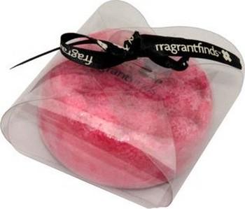 Fragrant Finds Massage Sponge Soap Glycerinové mýdlo masážní s houbou naplněnou vůní parfému čerstvých malin v barvě vínové 200 g