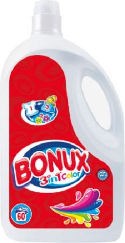Fotografie Bonux 3in1 Color tekutý prací prostředek na barevné prádlo, 60 praní 3,9 l