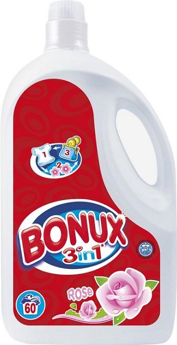 Fotografie Bonux 3in1 Rose prací prostředek, 60 praní 3,9 l