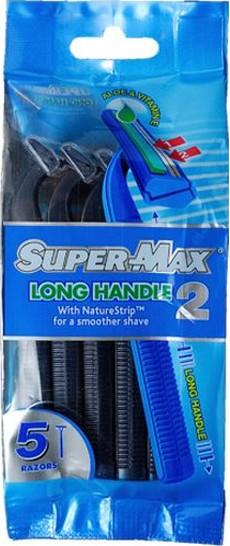 Fotografie Super-Max Long Handle jednorázový 2břitý holící strojek pro muže 5 kusů