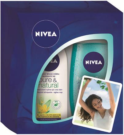 Nivea Pure výživné tělové mléko 250 ml + sprchový gel Hawaiian Flower & Oil 250 ml, kosmetická sada