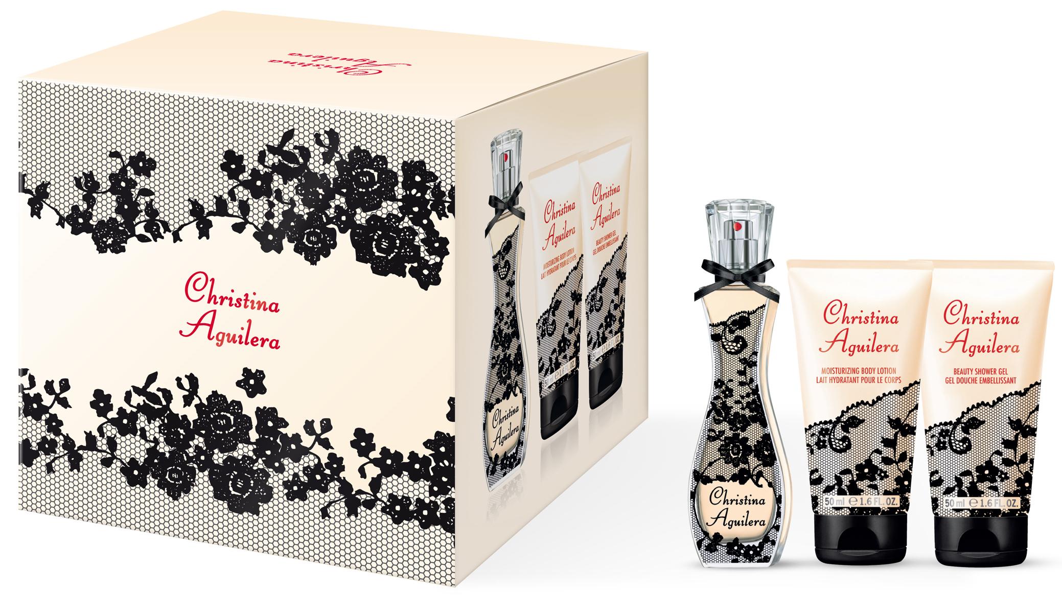 Christina Aguilera Signature parfémovaná voda 30 ml + sprchový gel 50 ml + tělové mléko 50 ml, dárková sada