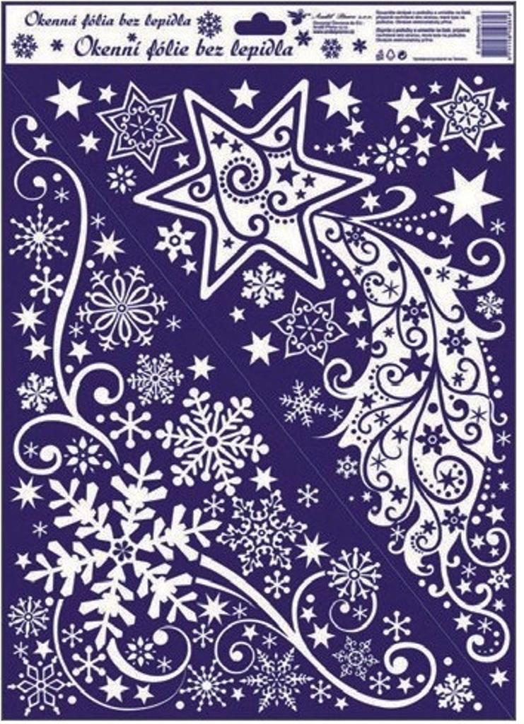 Room Decor Okenní fólie bez lepidla rohová bílá jemná s kometou 42 x 30 cm