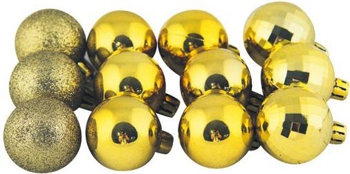 Baňky zlaté mix povrchů 4 cm 12 kusů