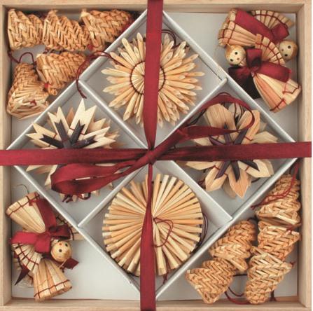 Slaměné dekorace vínový dekor v dřevěné krabičce 32 kusů
