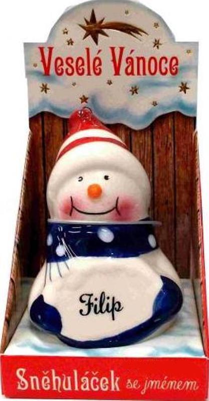 Nekupto Sněhuláček se jménem Filip Vánoční dekorace 016 rozměr 8 cm