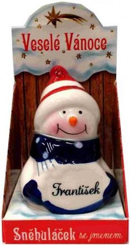 Nekupto Sněhuláček se jménem František Vánoční dekorace 017 rozměr 8 cm
