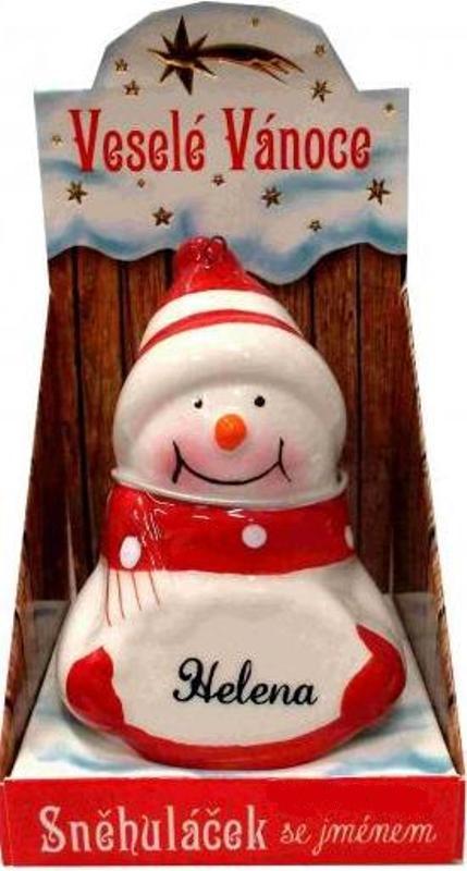 Nekupto Sněhuláček se jménem Helena Vánoční dekorace 020 rozměr 8 cm