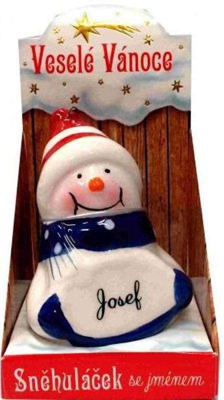 Nekupto Sněhuláček se jménem Josef Vánoční dekorace 033 rozměr 8 cm