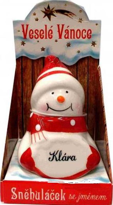 Nekupto Sněhuláček se jménem Klára Vánoční dekorace 037 rozměr 8 cm