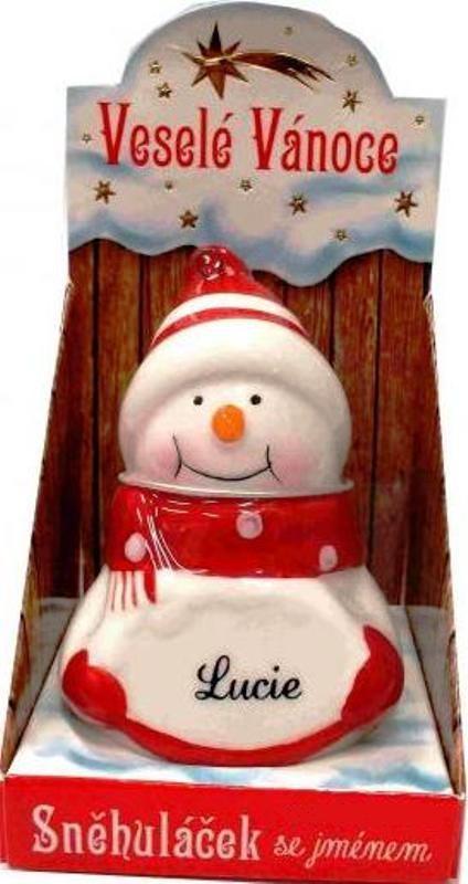 Nekupto Sněhuláček se jménem Lucie Vánoční dekorace 041 rozměr 8 cm