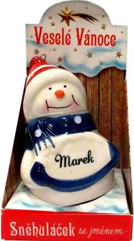 Nekupto Sněhuláček se jménem Marek Vánoční dekorace 045 rozměr 8 cm