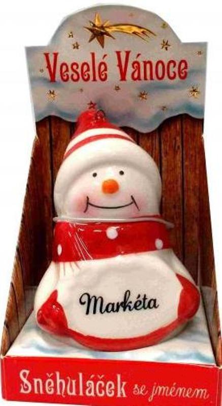 Nekupto Sněhuláček se jménem Markéta Vánoční dekorace 047 rozměr 8 cm