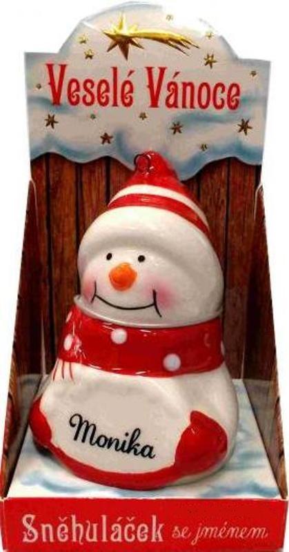 Nekupto Sněhuláček se jménem Monika Vánoční dekorace 056 rozměr 8 cm
