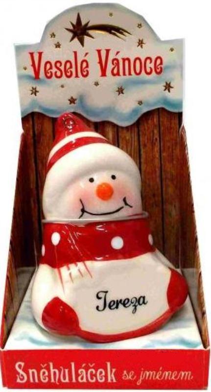 Nekupto Sněhuláček se jménem Tereza Vánoční dekorace 072 rozměr 8 cm