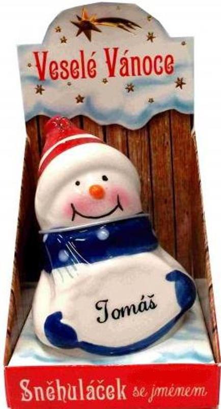 Nekupto Sněhuláček se jménem Tomáš Vánoční dekorace 073 rozměr 8 cm