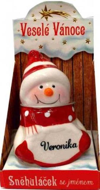 Nekupto Sněhuláček se jménem Veronika Vánoční dekorace 076 rozměr 8 cm