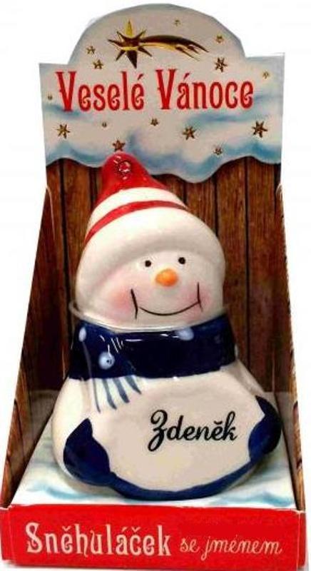 Nekupto Sněhuláček se jménem Zdeněk Vánoční dekorace 079 rozměr 8 cm