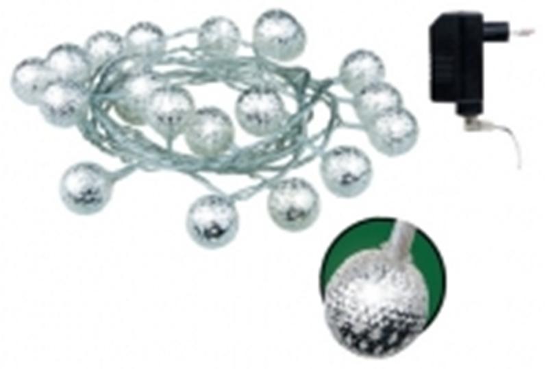 Fotografie Emos Osvětlení kouličky kovový efekt řetěz 3 m - 20 LED bílá + 3 m přívodní kabel